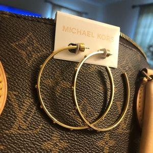 Michael Kors large Gold studded hoop earrings